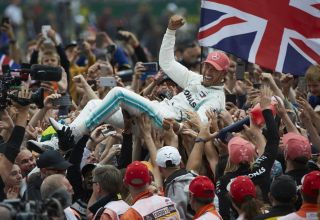 Hamilton Mercedes F1 W10 celebrating victory with the fans 2019 British GP F1 2019 Photo Daimler