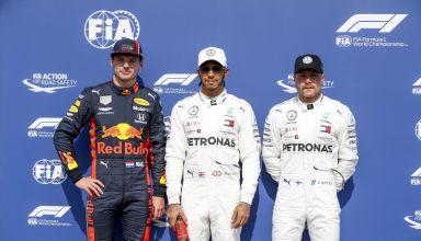 Hamilton Verstappen Bottas German GP F1 2019 post qualifying top three Photo Daimler