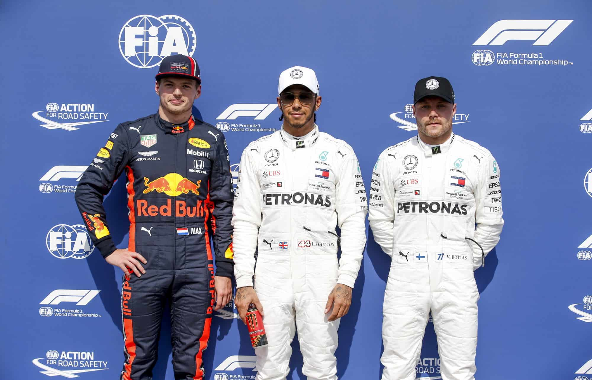 Hamilton Verstappen Bottas German GP F1 2019 post qualifying top three Photo Daimler