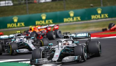 Hamilton and Bottas lead Leclerc British GP F1 2019 Photo Daimler