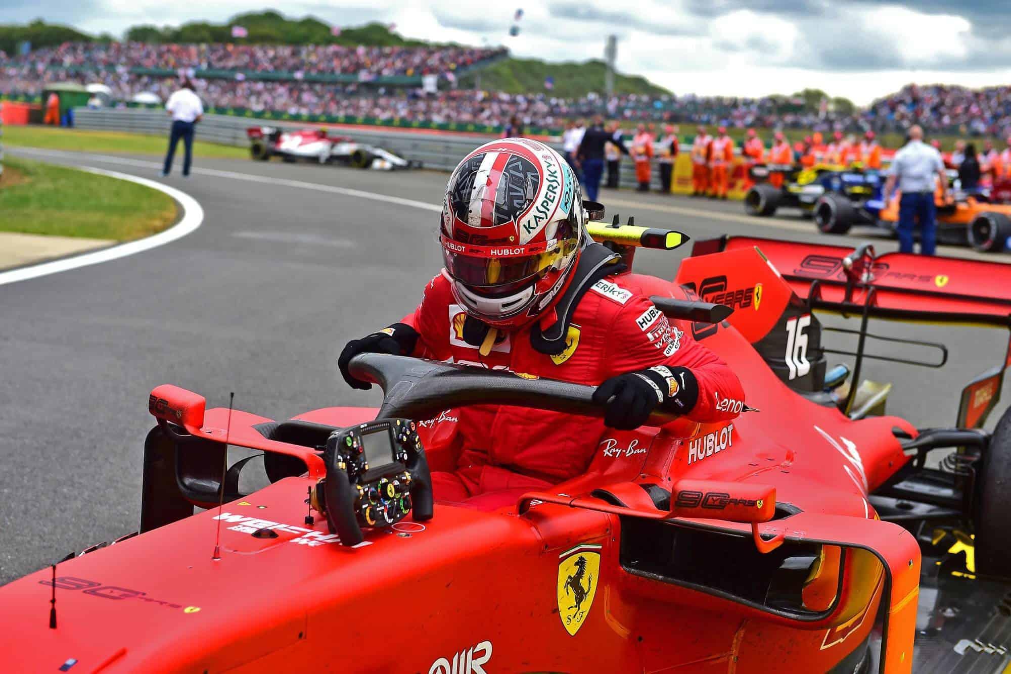 Leclerc Ferrari British GP F1 2019 after the race Photo Ferrari