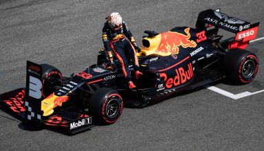 Max Verstappen Red Bull RB15 German GP F1 2019 post qualifying on track Photo Red Bull