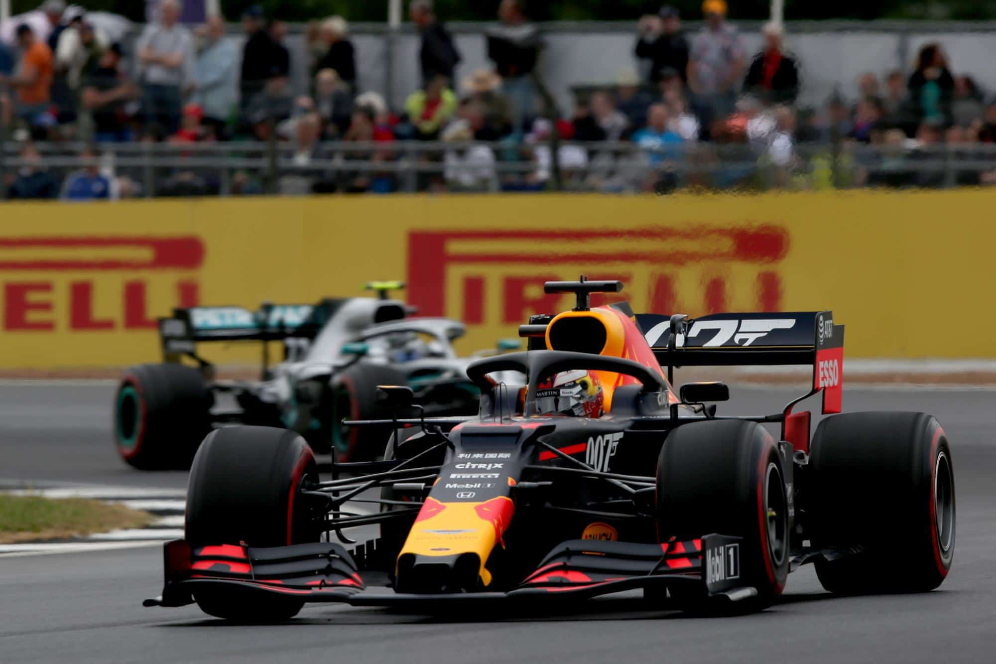 Max Verstappen Red Bull RB15 leads Valtteri Bottas Mercedes F1 W10 FP3 British GP F1 2019 Photo Red Bull