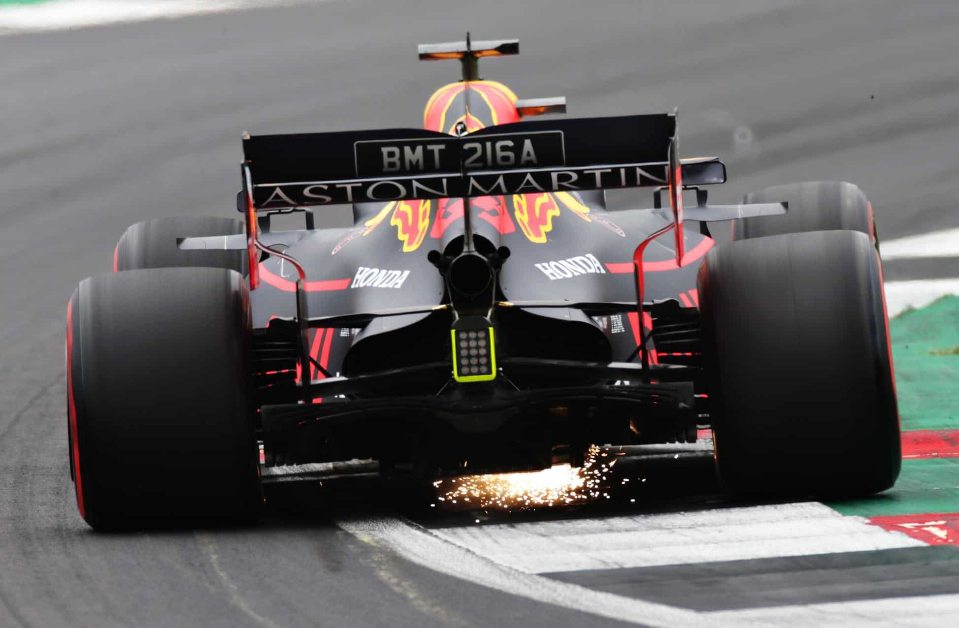 Max Verstappen Red Bull RB15 rear end sparks FP3 British GP F1 2019 Photo Red Bull
