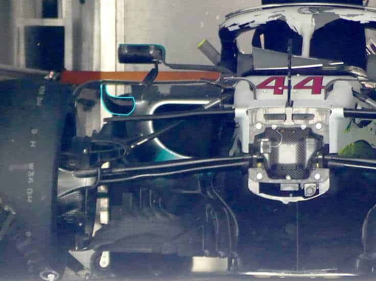 Mercedes F1 W10 German GP F1 2019 new sidepod edges close Photo AMuS