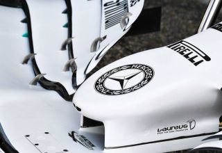 Mercedes F1 W10 German GP F1 2019 new white livery nose and front wing Photo Daimler
