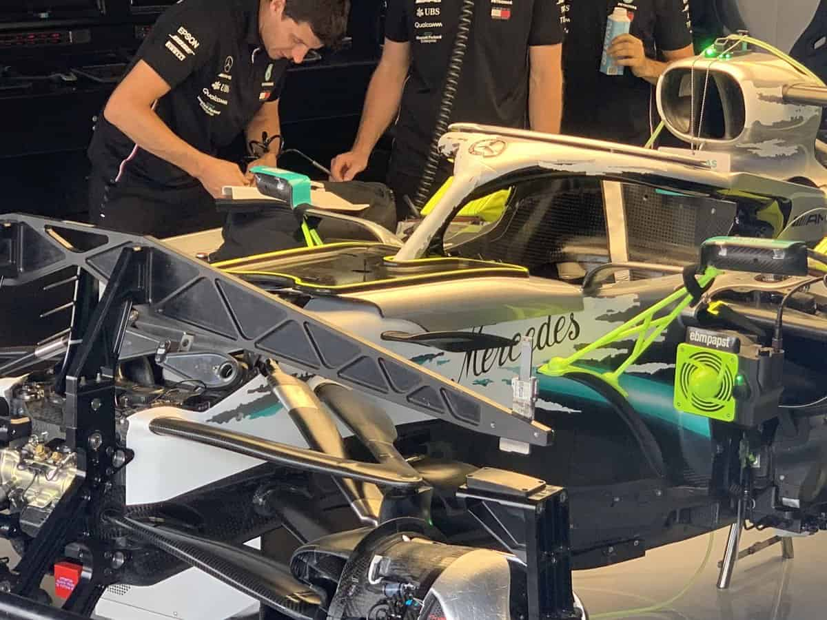 Mercedes F1 W10 German GP F1 2019 without engine cover Photo AMuS