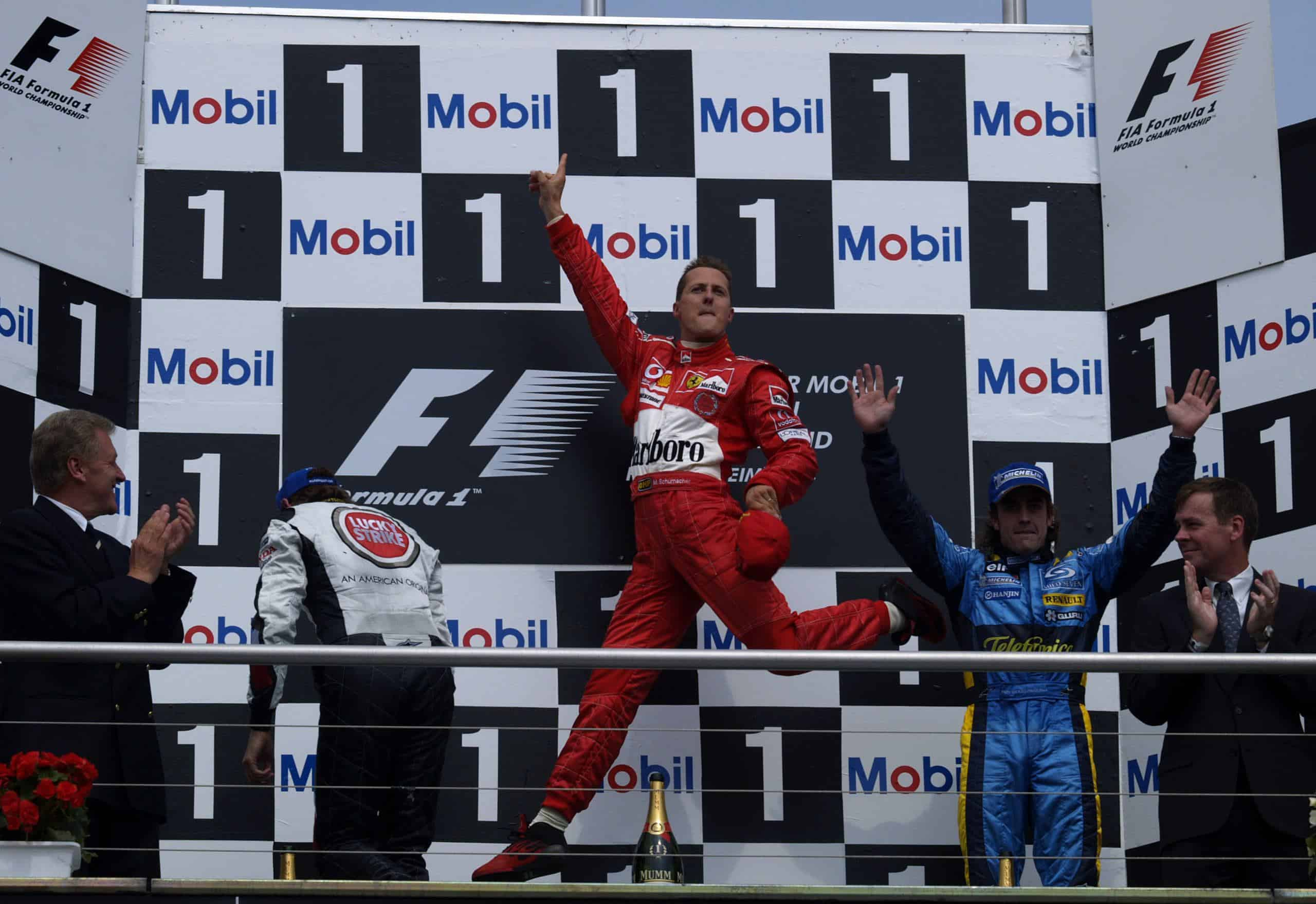 Michael-Schumacher-Ferrari-F2004-German-GP-F1-2004-on-the-podium-Hockenheim-Photo-Ferrari