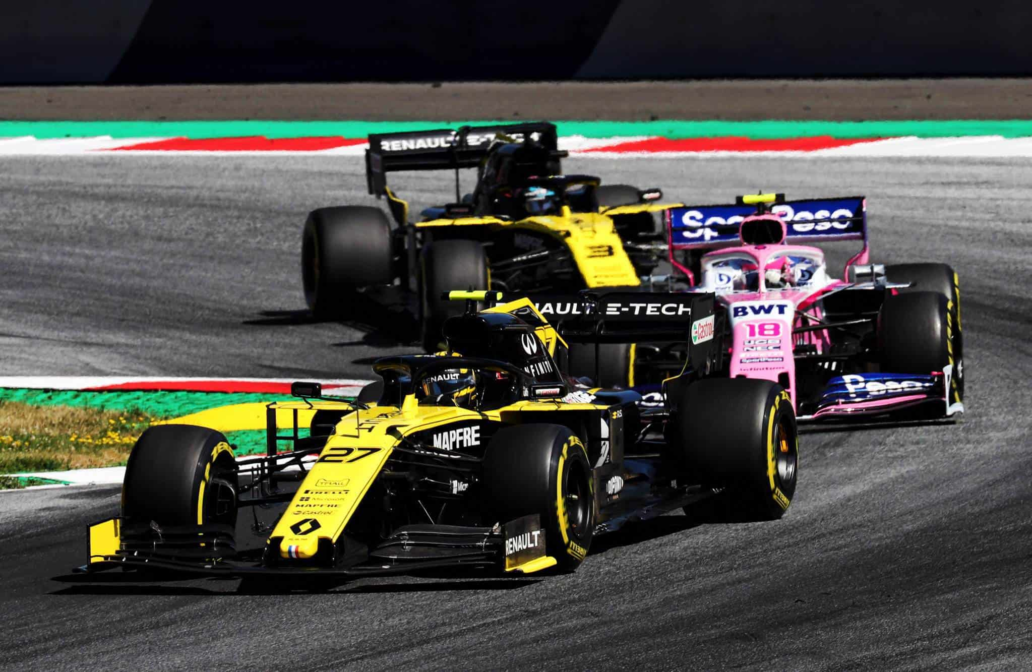 Renault drivers sandwich Stroll in Racing Point Austrian GP F1 2019 Photo Renault
