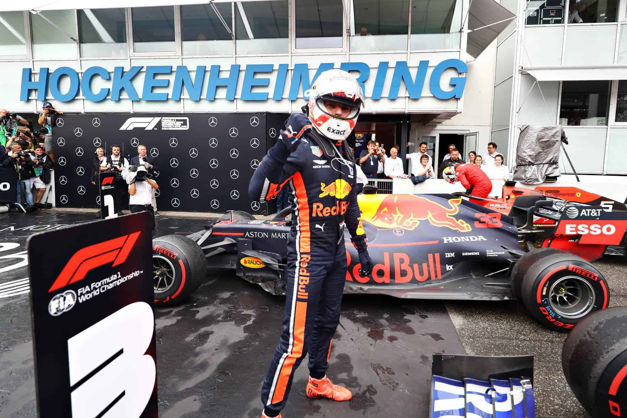 Verstappen wins German GP F1 2019 parc ferme with his Red Bull RB15 Photo Red Bull