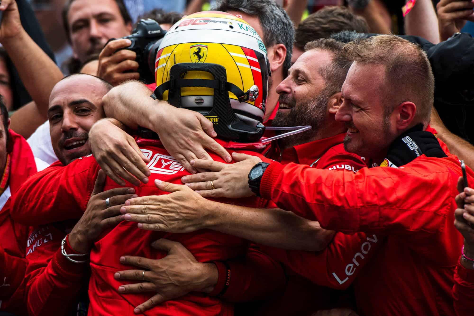 Vettel Ferrari German GP F1 2019 team hug after the race Photo Ferrari