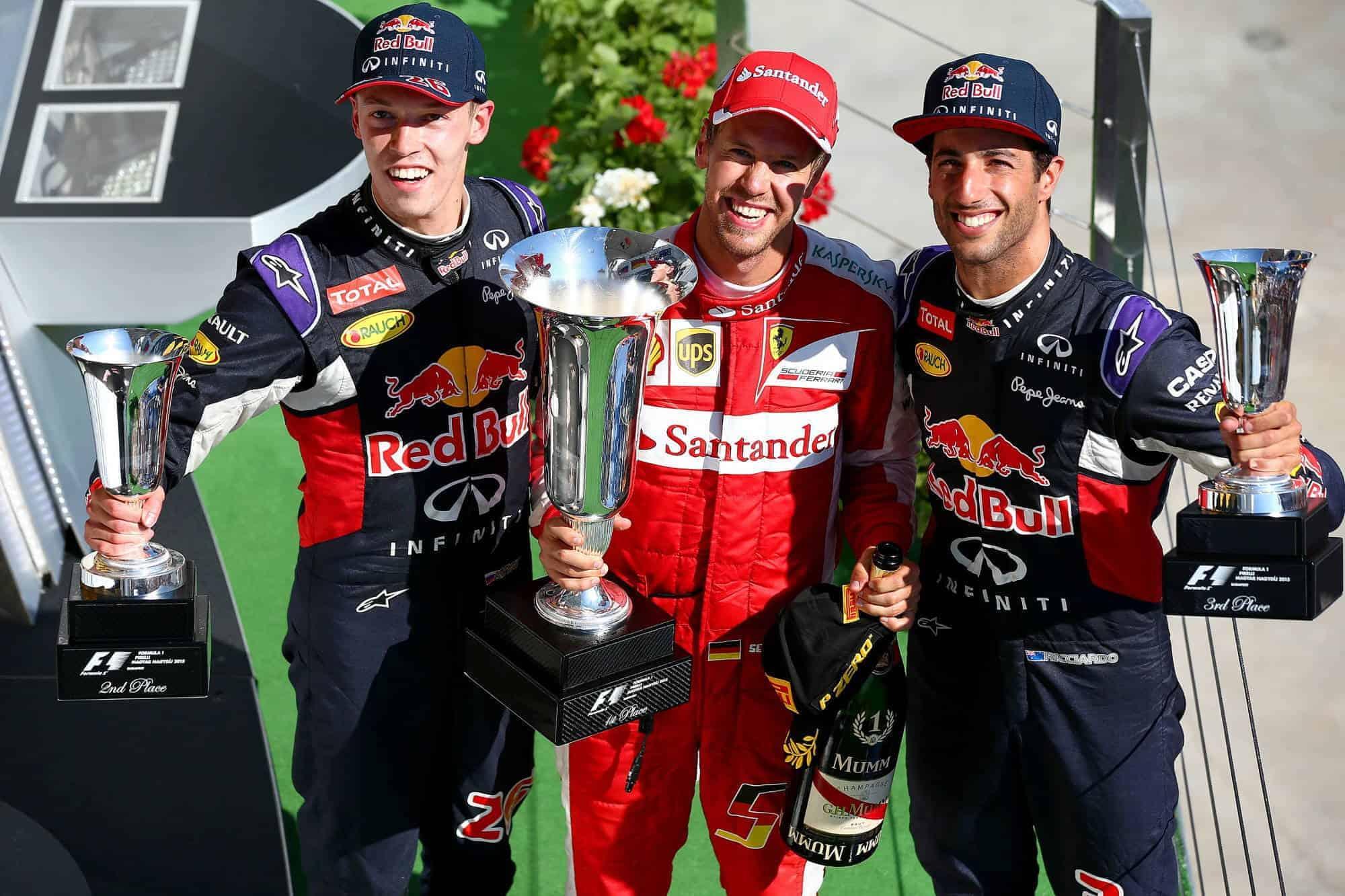 Vettel Kvyat Ricciardo Hungarian GP F1 2015 podium Photo Red Bull