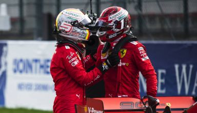 Charles Leclerc and Sebastian Vettel Ferrari Belgian GP F1 2019 after Qualifying Photo Ferrari