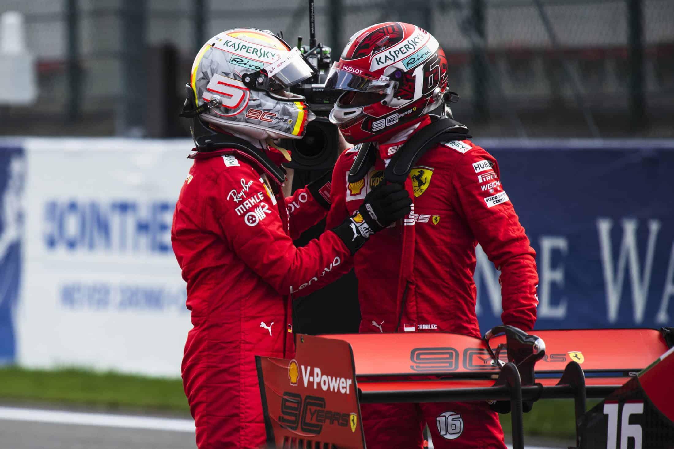 Charles Leclerc and Sebastian Vettel Ferrari Belgian GP F1 2019 after Qualifying Photo Ferrari