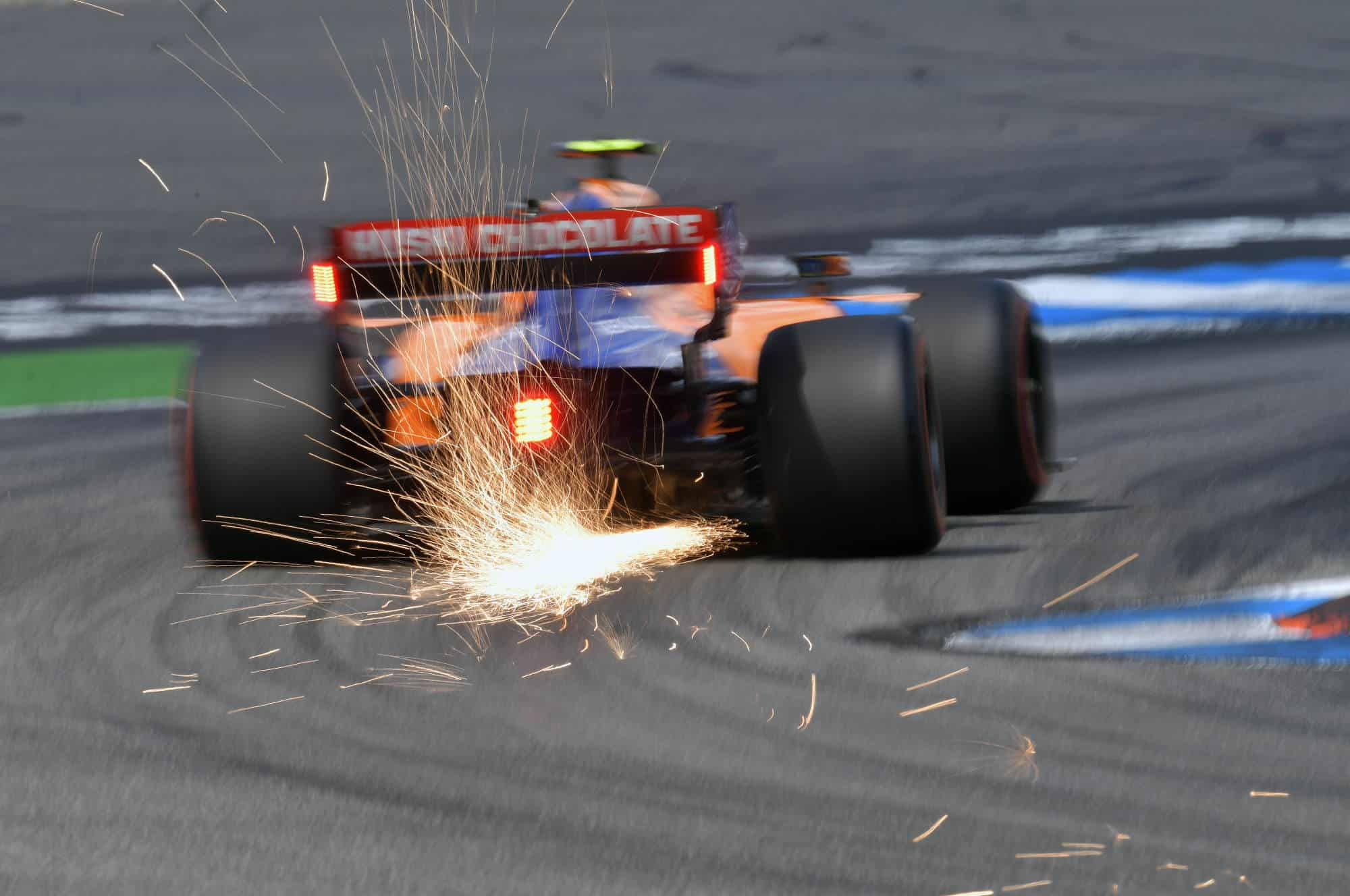 Lando Norris McLaren MCL34 German GP F1 2019 rear end sparks Photo McLaren
