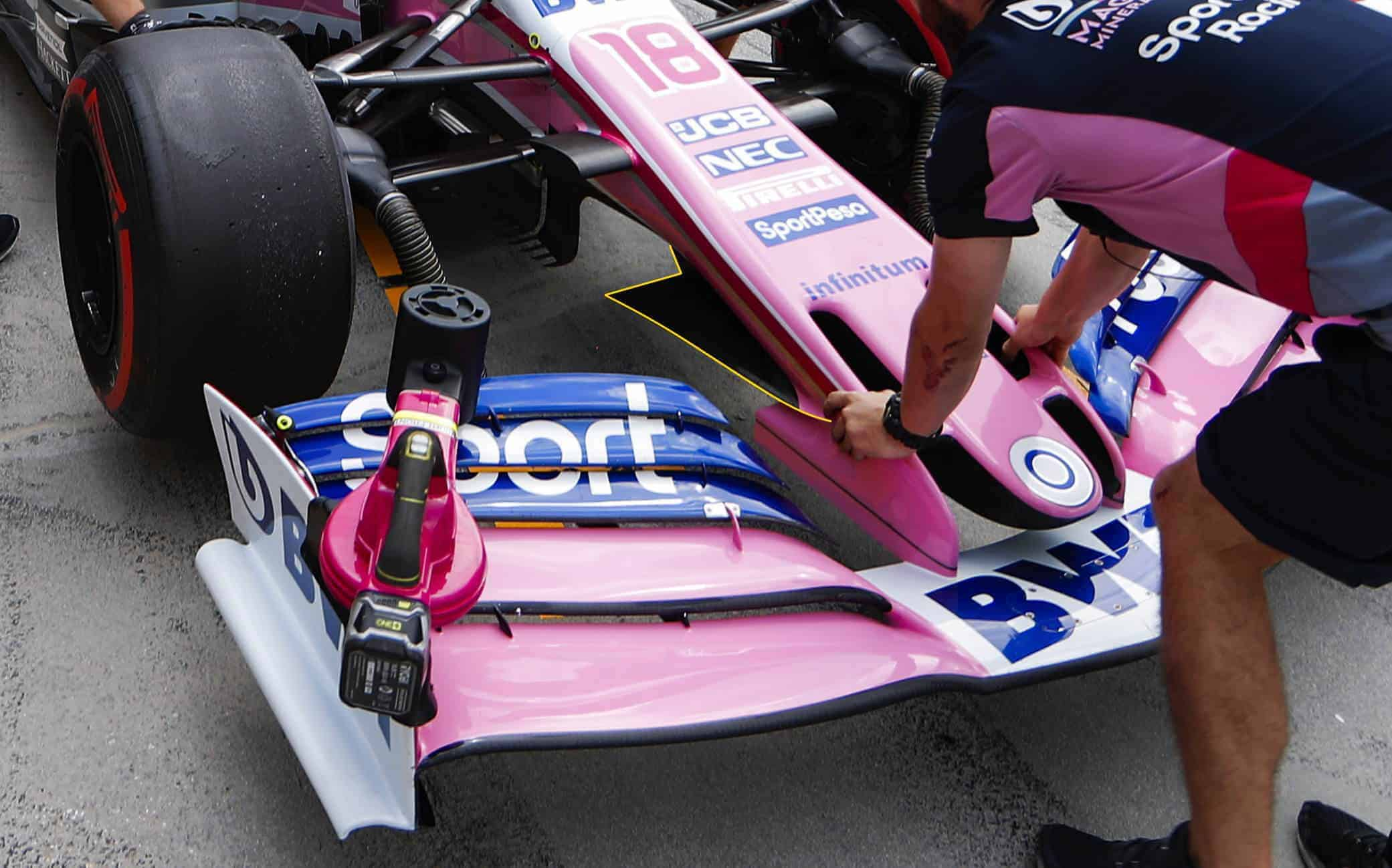 Racing Point RP19 Hungarian GP F1 2019 nose and front wing garage Photo Racing Point