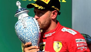 Sebastian Vettel Ferrari Hungarian GP F1 2019 on the podium with trophy Photo Ferrari