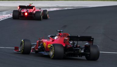 Vettel and Leclerc Ferrari Hungarian GP F1 2019 race Turn 1 Photo Ferrari