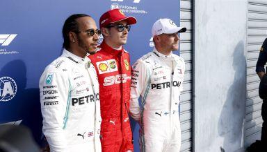 2019 Italian GP Leclerc Hamilton Bottas after Qualifying Photo Daimler