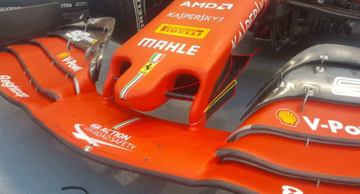 2019 Singapore GP Ferrari new nose cape vane Photo Ferrari - Twitter