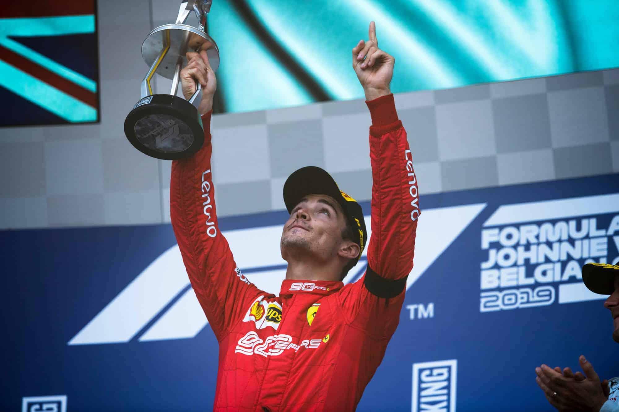 Charles Leclerc Ferrari Belgian GP F1 2019 on the podium Photo Ferrari
