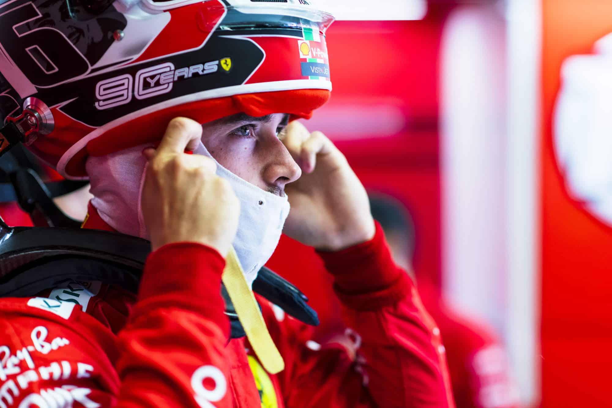 Charles Leclerc Ferrari Italian GP F1 2019 helmet in pits Photo Ferrari