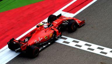 Charles Leclerc Ferrari Russian GP F1 2019 finish line Photo Ferrari