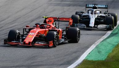 Charles Leclerc Ferrari SF90 Italian GP F1 2019 battle with Lewis Hamilton Mercedes Photo Ferrari Sky Sports F1