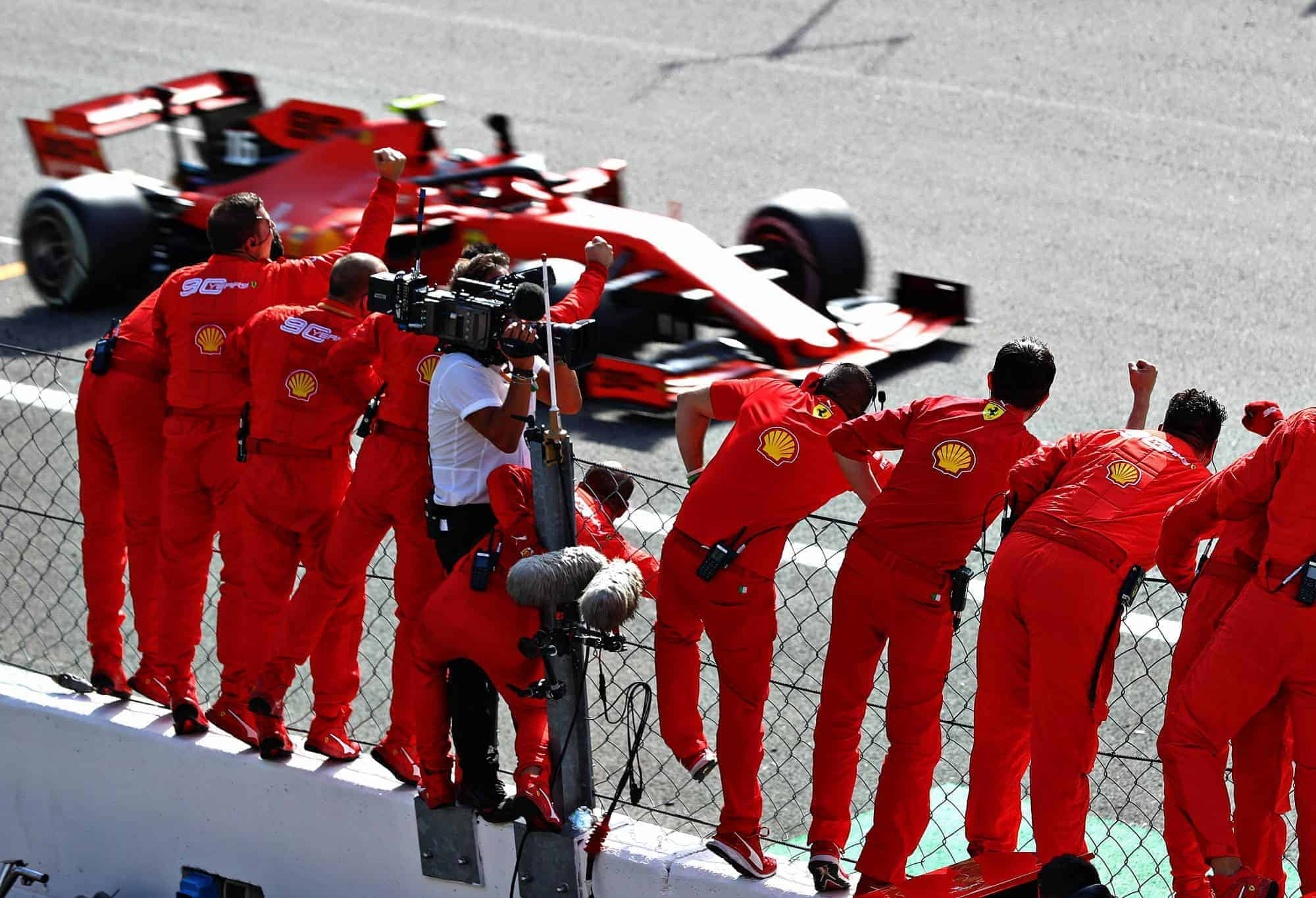 Charles Leclerc Ferrari SF90 Italian GP F1 2019 celebration of his race win with pitwall Photo Ferrari Sky Sports F1