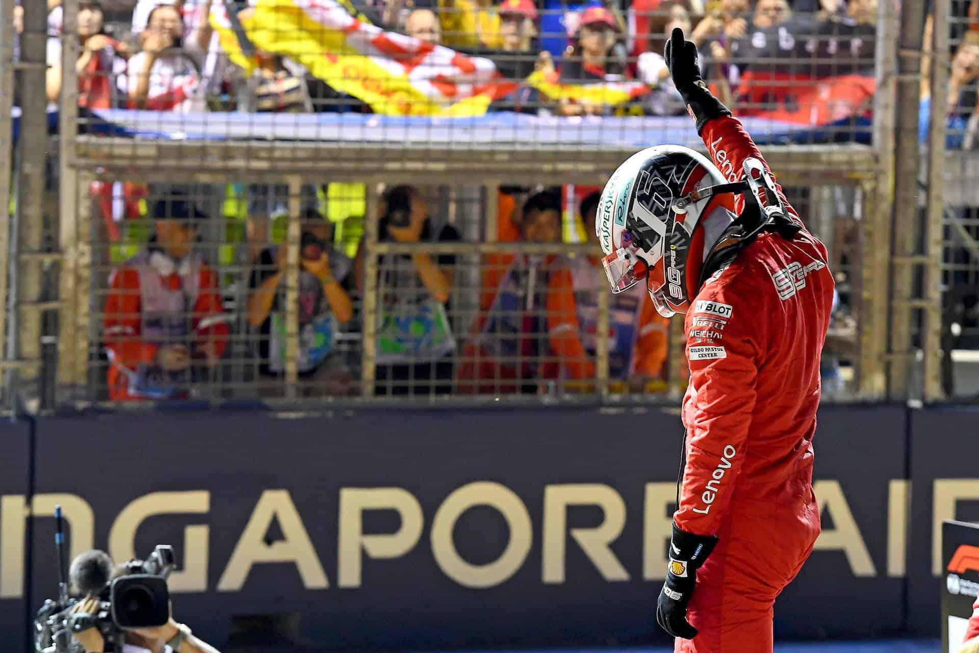 Charles Leclerc Ferrari SF90 Singapore GP F1 2019 after Qualifying celebrating pole Photo Ferrari