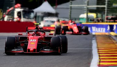 Charles Leclerc and Sebastian Vettel Ferrari Belgian GP F1 2019 Race Photo Ferrari