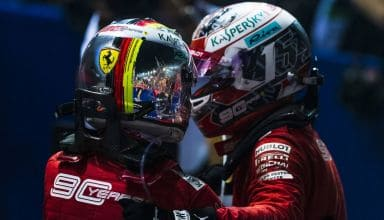 Charles Leclerc and Sebastian Vettel Ferrari SF90 Singapore GP F1 2019 after Race celebrating 1-2 Photo Ferrari