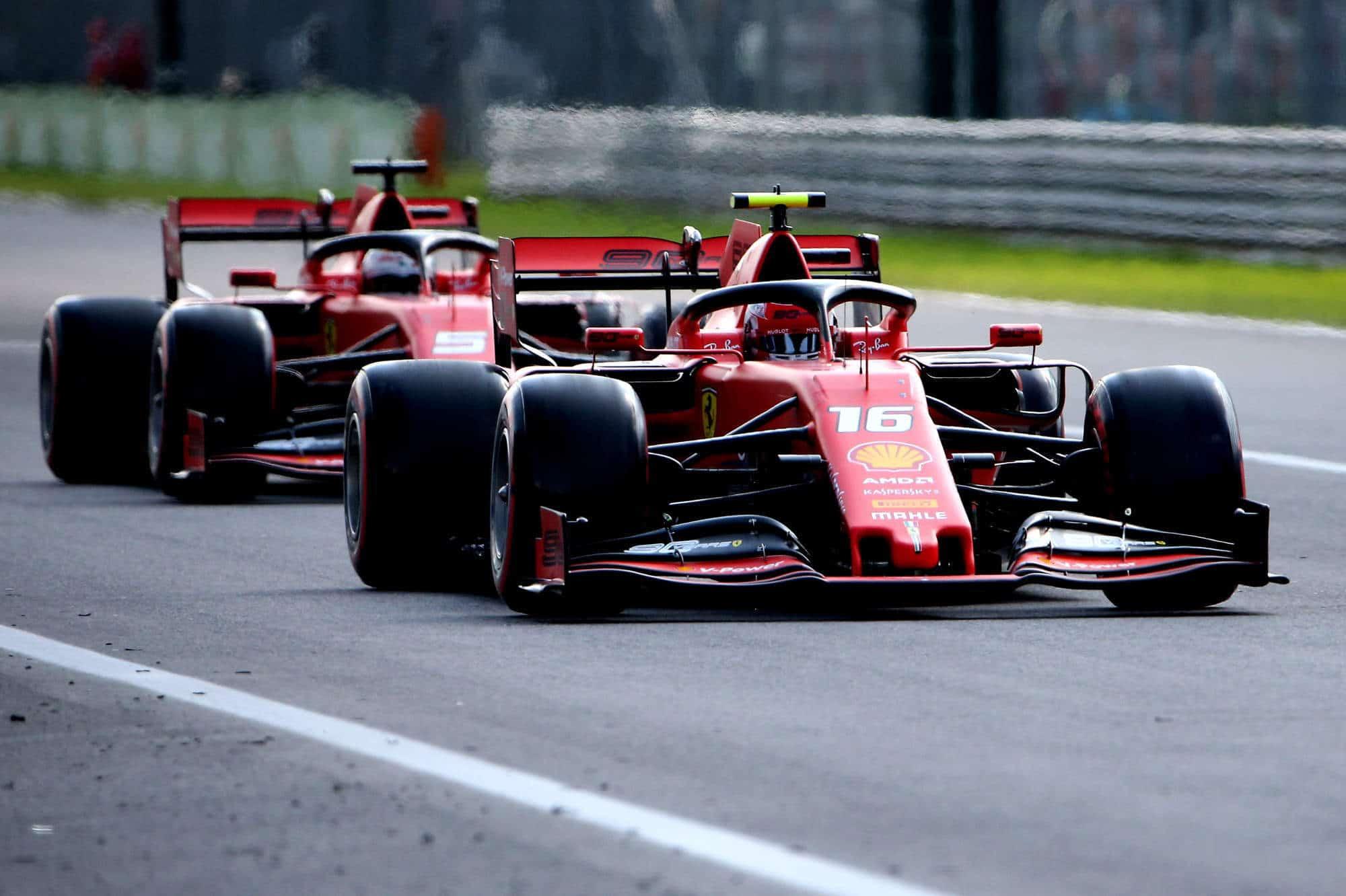 Charles Leclerc leads Sebastian Vettel Ferrari Italian GP F1 2019 FP1 Photo Ferrari