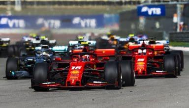 Charles Leclerc leads Sebastian Vettel Ferrari Russian GP F1 2019 race Photo Ferrari