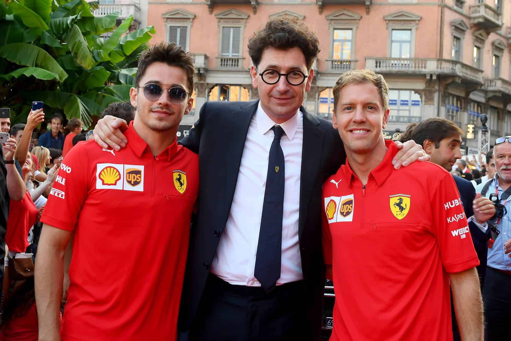 Ferrari 90th Anniversary celebration in Milan 04 September 2019 Leclerc Binotto Vettel Photo Ferrari