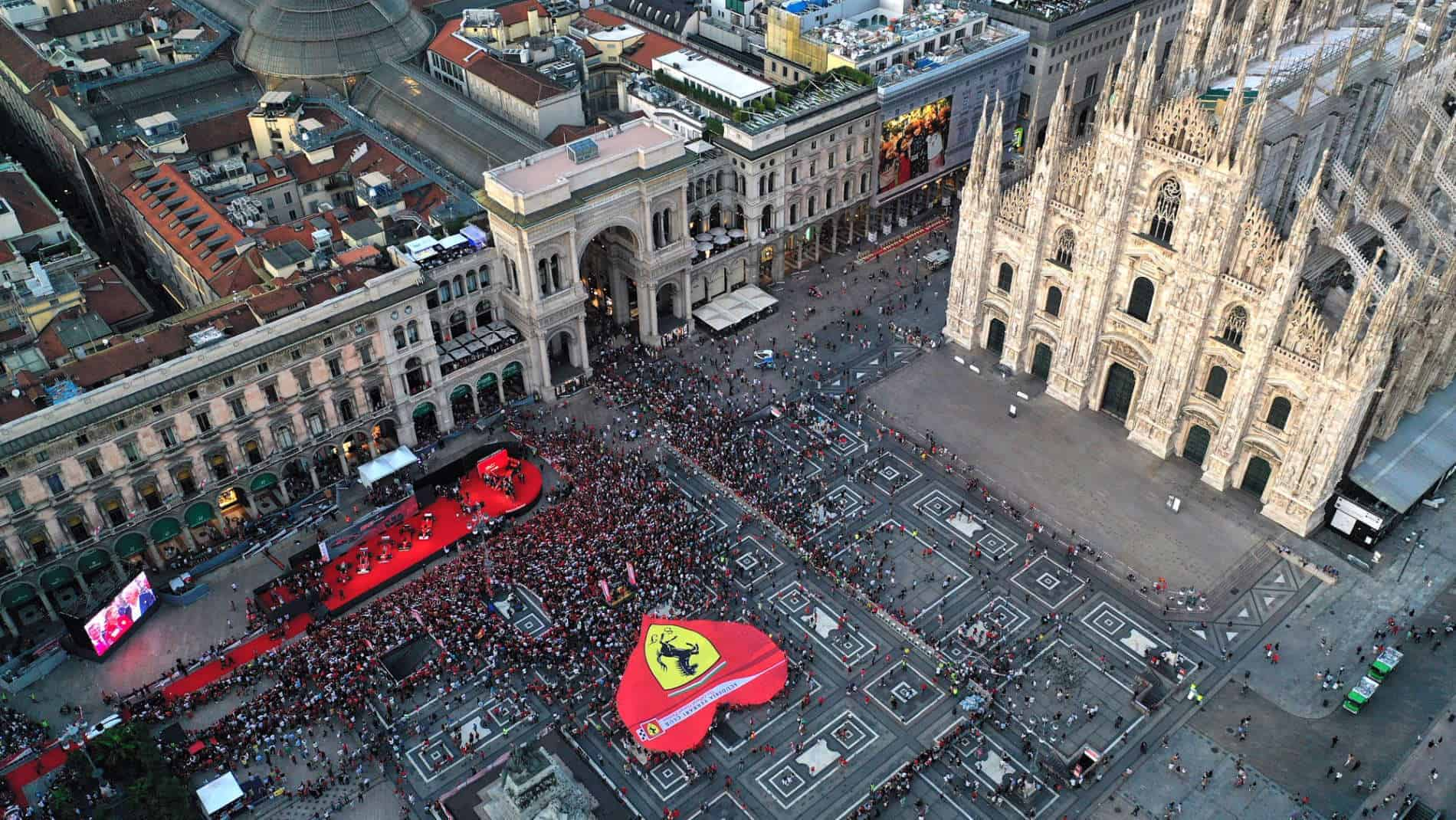 Ferrari 90th Anniversary celebration in Milan 04 September 2019 top view Photo Ferrari