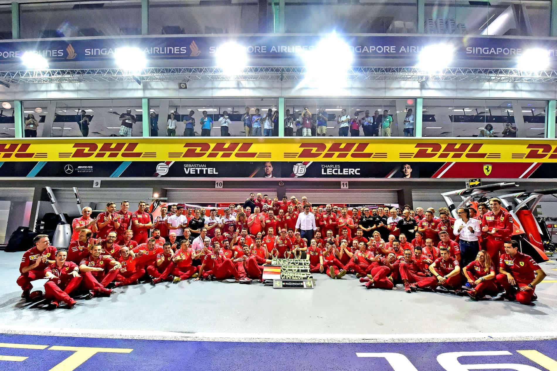 Ferrari Singapore GP F1 2019 celebrations victory Photo Ferrari