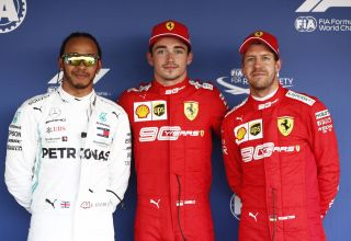 Hamilton Leclerc Vettel Russian GP F1 2019 Post Qualifying Photo Daimler