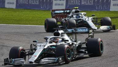 Hamilton leads Bottas Mercedes Belgian GP F1 2019 Photo Daimler