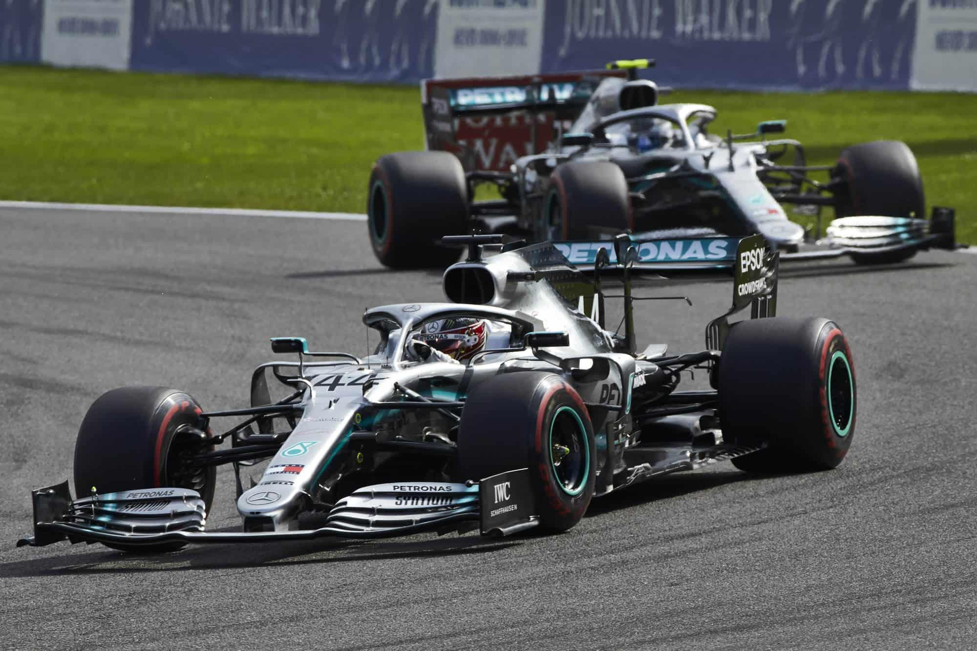Hamilton leads Bottas Mercedes Belgian GP F1 2019 Photo Daimler