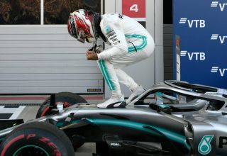 Lewis Hamilton Mercedes Russian GP F1 2019 After the Race celebrating victory Photo Daimler