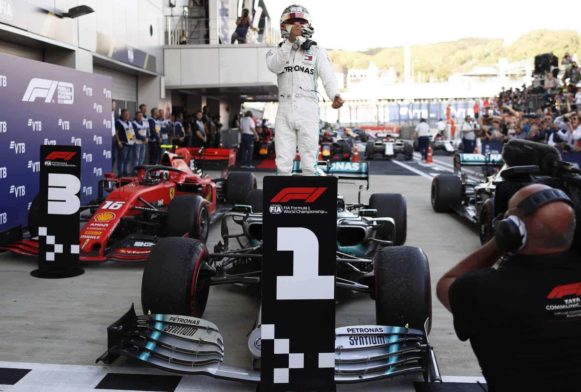 Lewis Hamilton Mercedes Russian GP F1 2019 After the Race celebrating victory on the car Photo Daimler