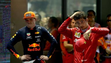 Max Verstappen and Charles Leclerc Singapore GP F1 2019 post race parc ferme Photo Red Bull