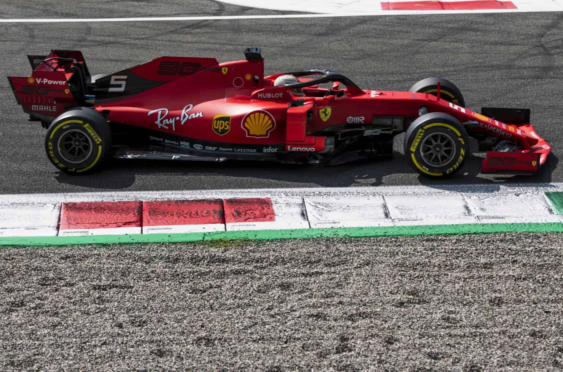 Sebastian Vettel Ferrari SF90 Italian GP F1 2019 First Chicane exit Photo Ferrari