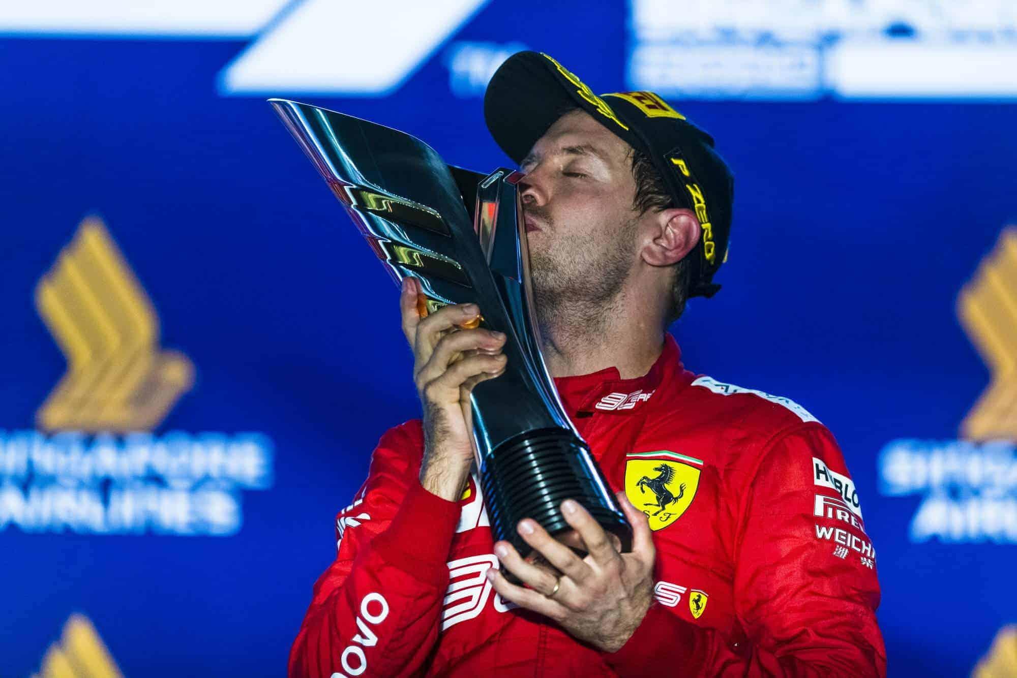 Sebastian Vettel Ferrari SF90 Singapore GP F1 2019 podium trophy victory Photo Ferrari