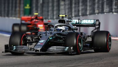 Valtteri Bottas leads Charles Leclerc Ferrari Russian GP F1 2019 Photo Daimler
