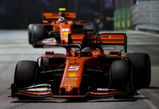 Vettel and Leclerc Singapore GP F1 2019 Race Photo Ferrari