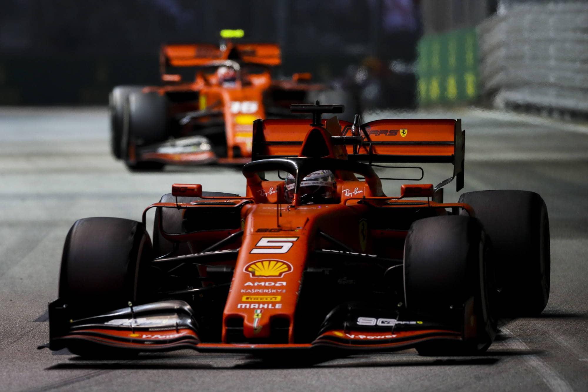 Vettel and Leclerc Singapore GP F1 2019 Race Photo Ferrari