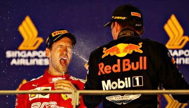 Vettel and Verstappen Singapore GP F1 2019 champagne on the podium Photo Red Bull