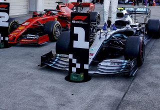 2019 Japanese GP Bottas Hamilton Vettel parc ferme after the race Photo Daimler